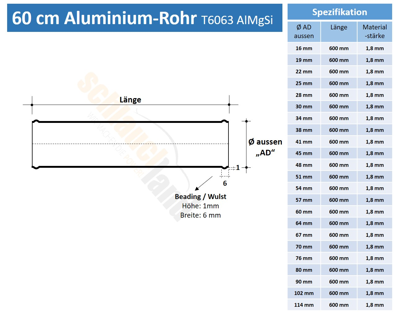 Datenblatt Alu-Rohr 60cm