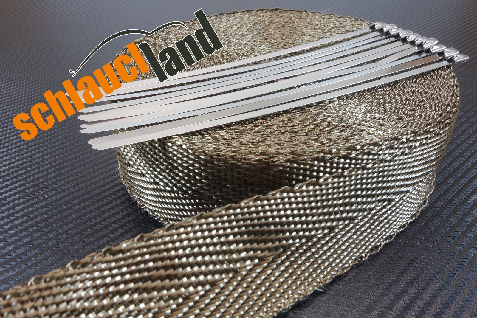 Basalt Hitzeschutzband 50mm x 10 Meter + 10 Kabelbinder