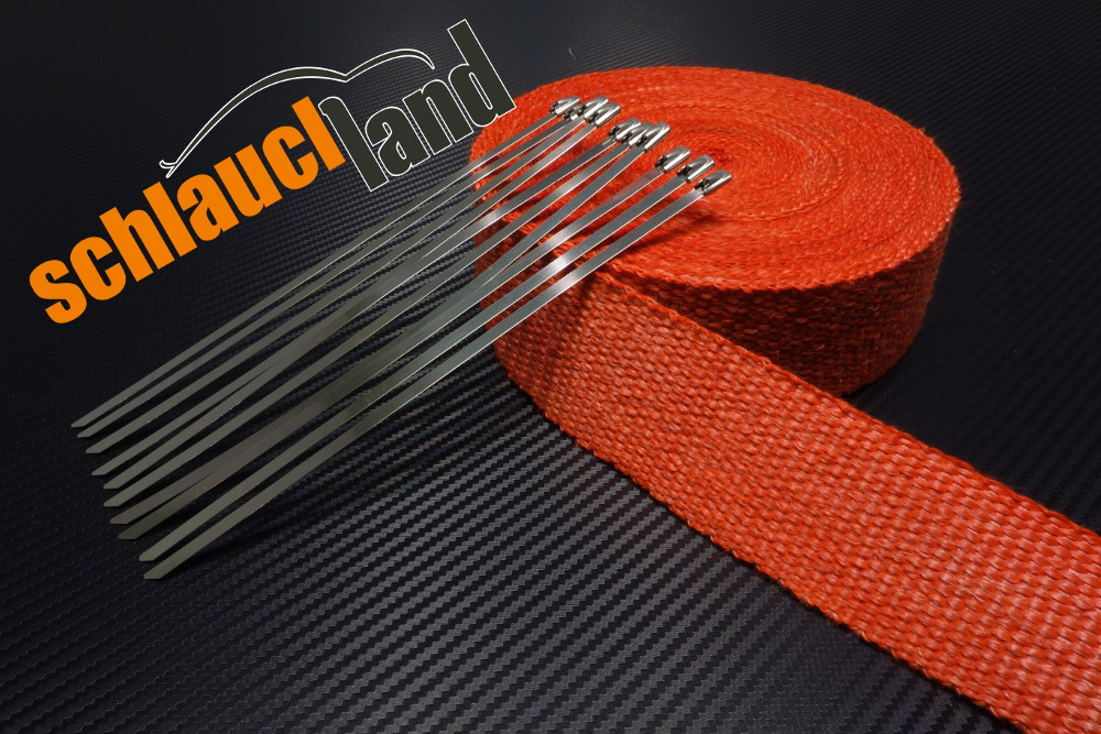 Fiberglas Hitzeschutzband 50mm x 20 Meter rot + 10 Kabelbinder
