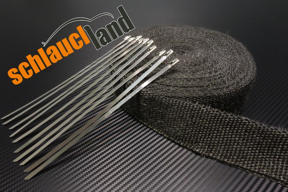 Hitzeschutzband 50mm x 5 Meter schwarz + 10 Kabelbinder
