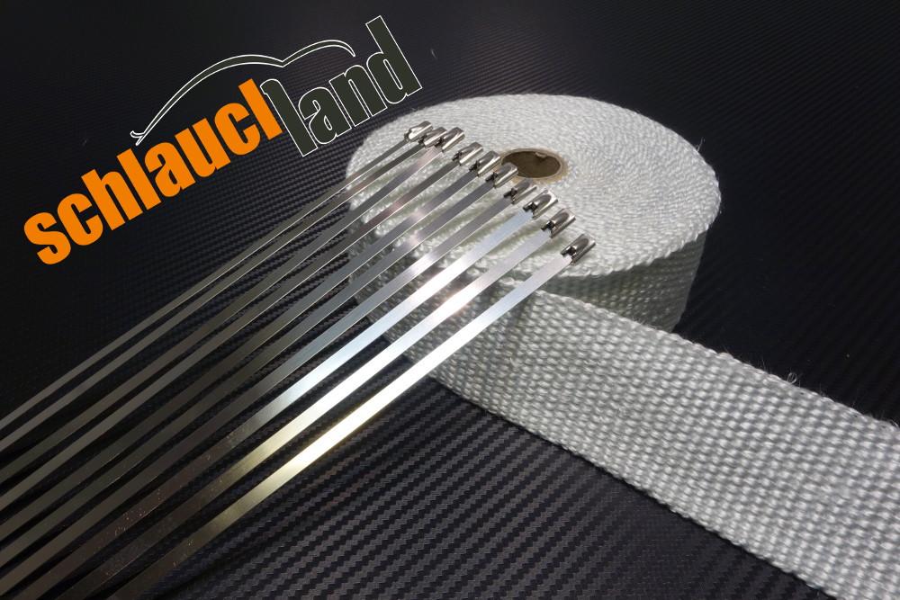 Fiberglas Hitzeschutzband 50mm x 20 Meter weiss + 10 Kabelbinder