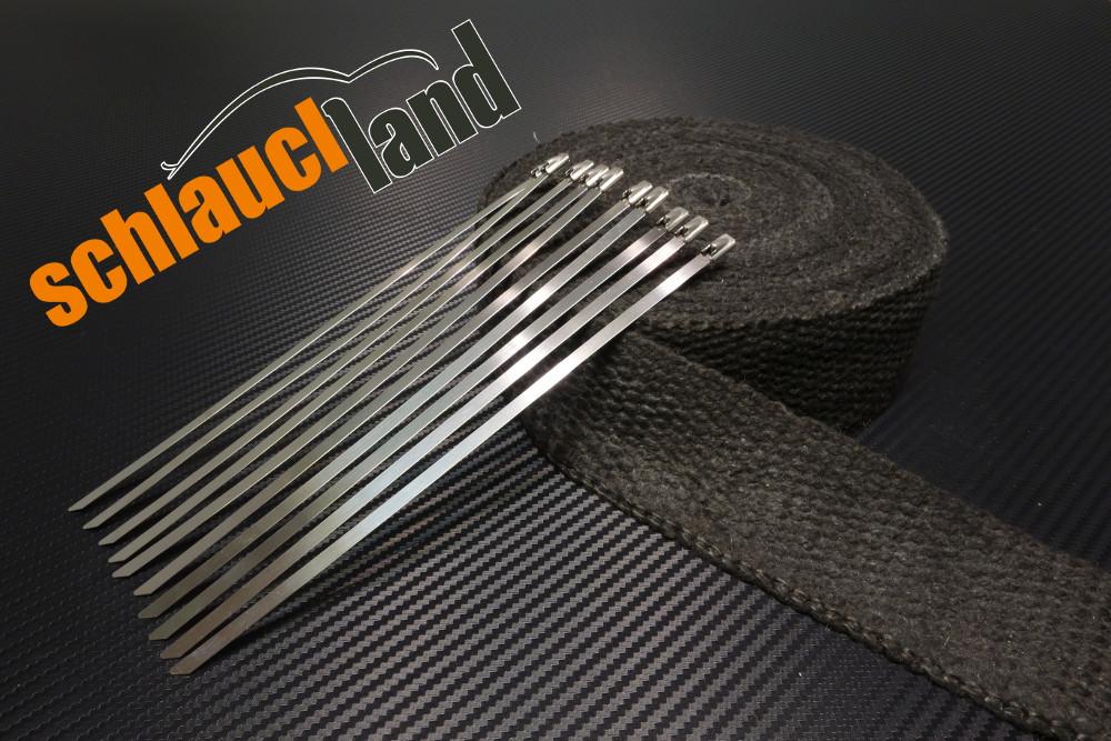 Keramik Hitzeschutzband 50mm x 15 Meter schwarz + 10 Kabelbinder