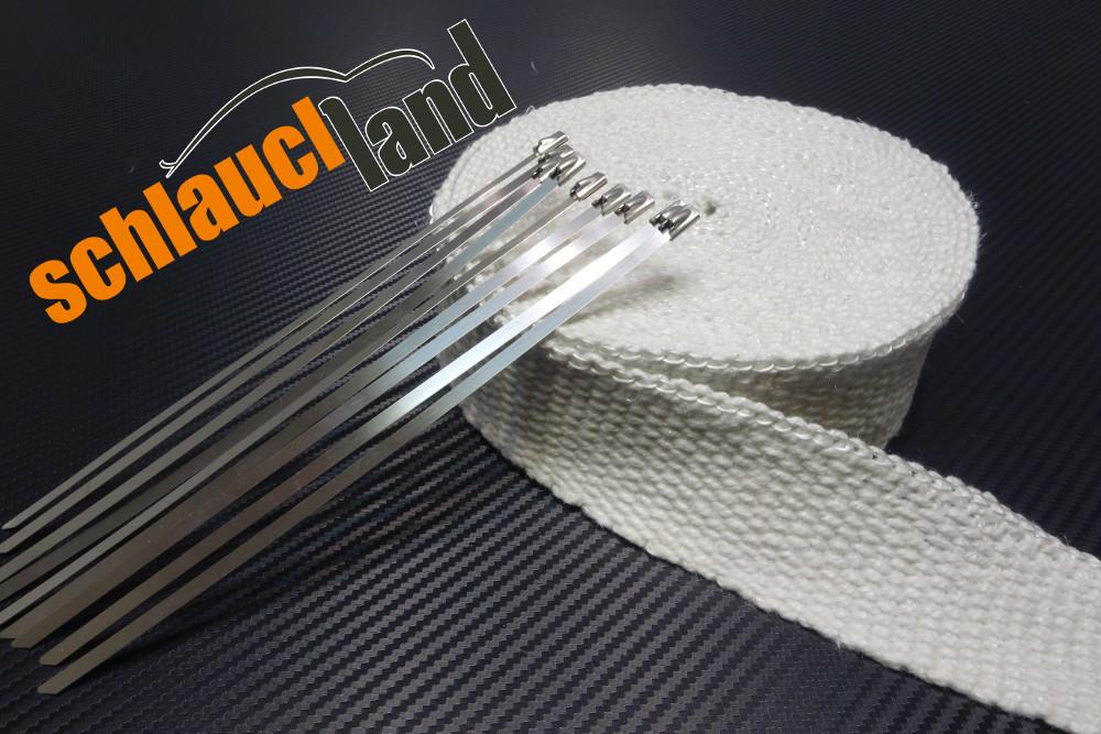 Keramik Hitzeschutzband 50mm x 10 Meter weiss + 10 Kabelbinder