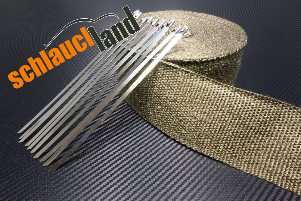 Titan Hitzeschutzband 75mm 1400°C  5,10,15,20,30m + Kabelbinder