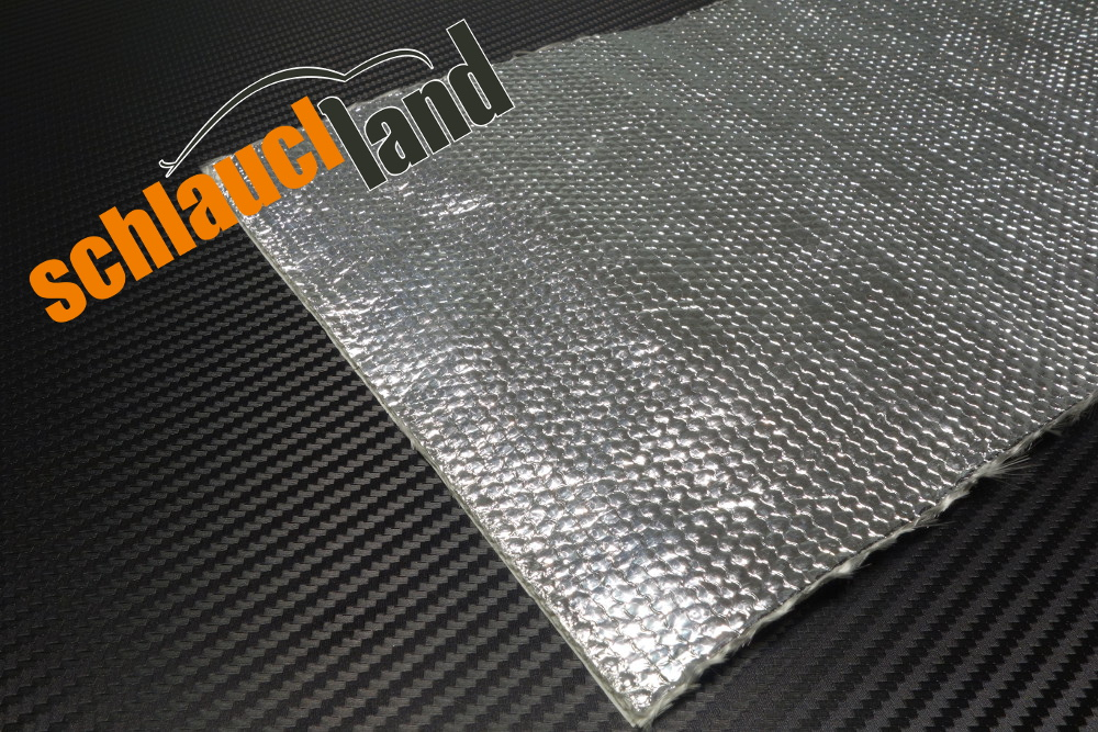 Alu-Fiberglas Hitzeschutzmatte selbstklebend 0,5m x 0,25m