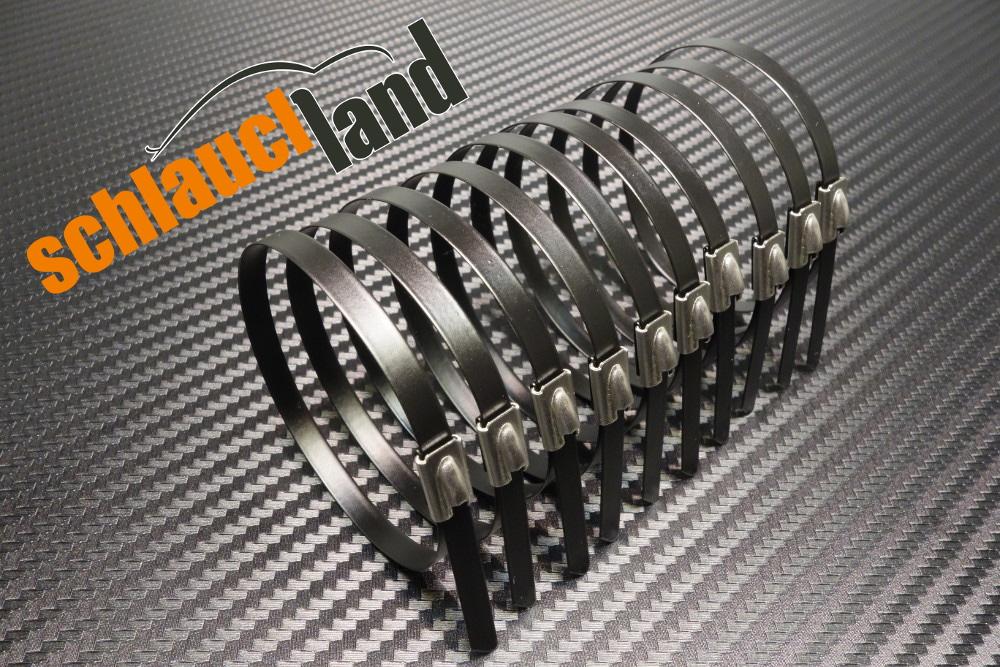 10x Kabelbinder Edelstahl 150 mm schwarz