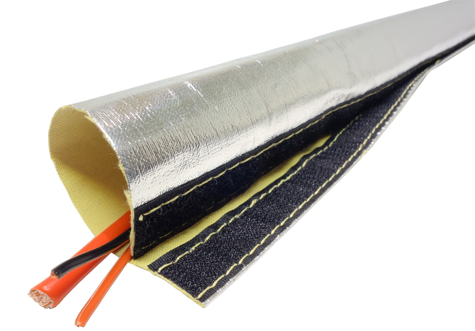 1m Alu-Kevlar Hitzeschutzschlauch Klett ID 10 mm