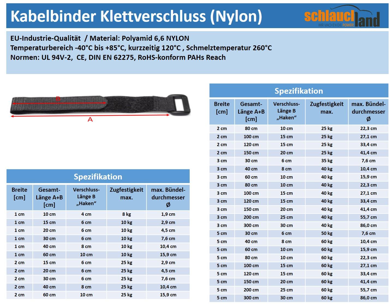 Datenblatt Kabelbinder Klett schwarz
