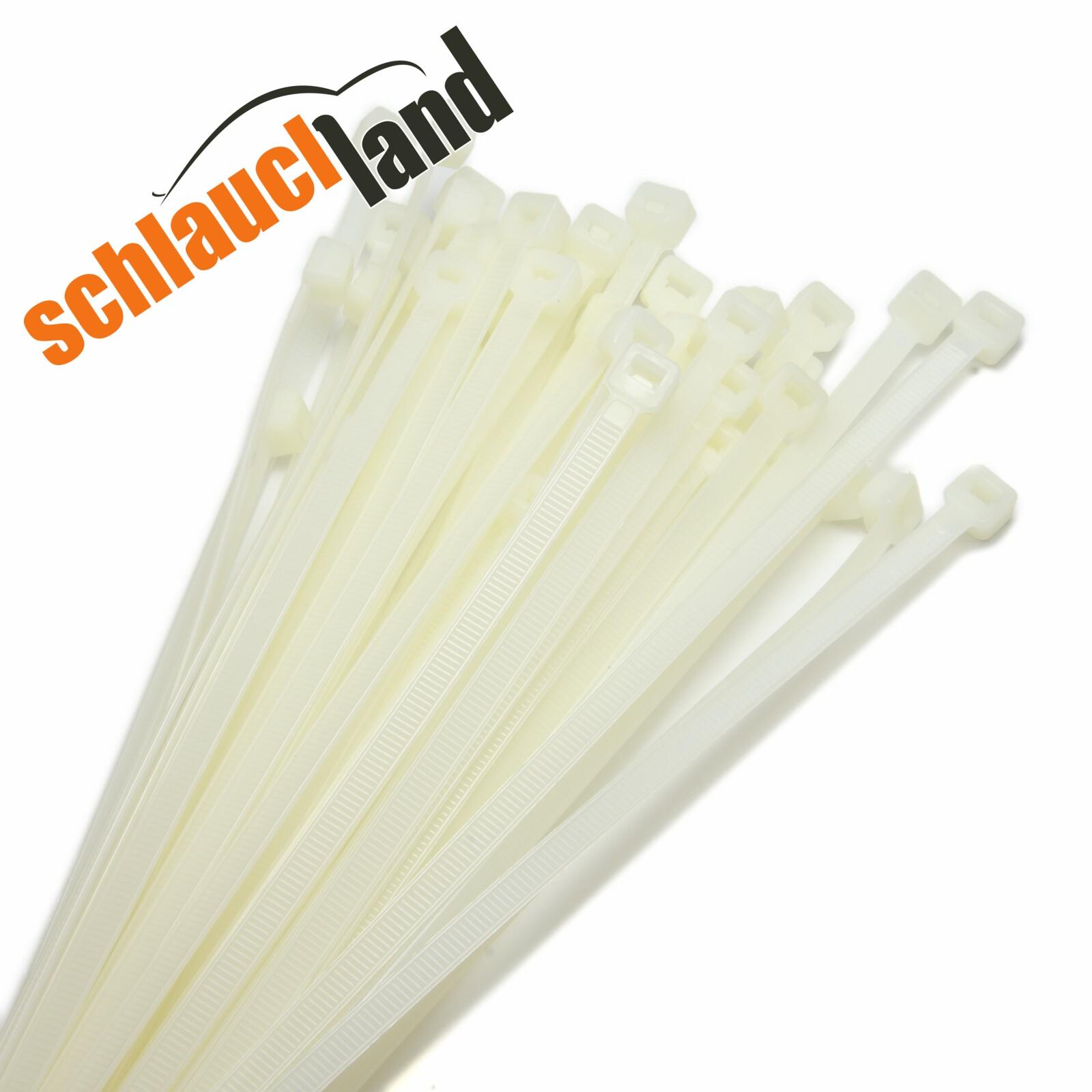 7,9 3,6 12,4mm *** 10-100cm Set 1-1000 Kabelbinder Nylon weiß 2,5 4,8