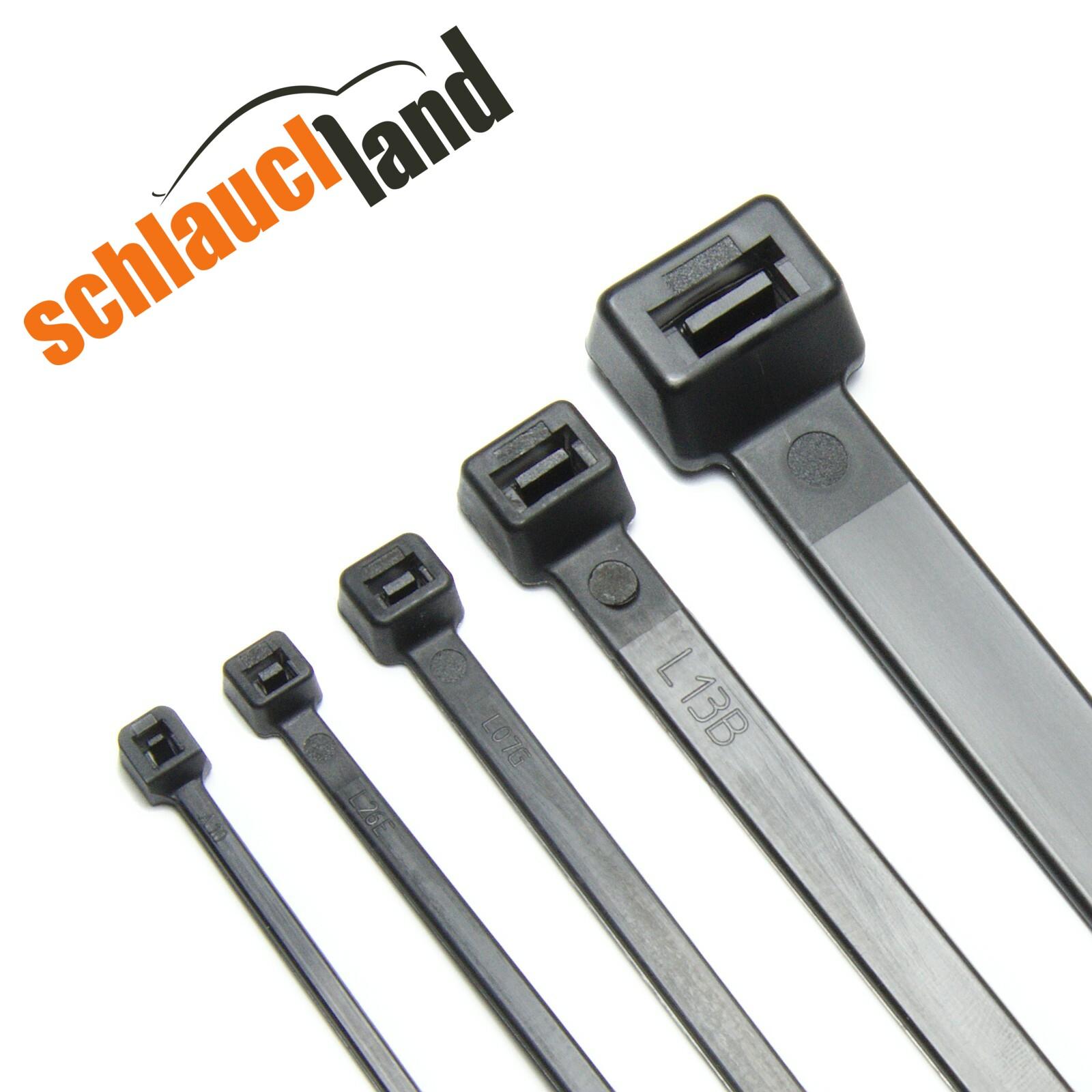Kabelbinder Nylon schwarz 2,5/3,6/4,8/7,9/12,4 mm Länge 10-100cm